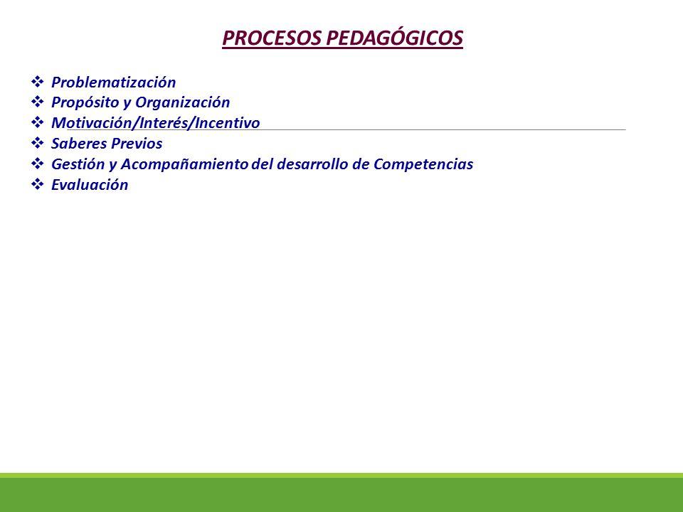 PROCESOS PEDAGÓGICOS  Problematización  Propósito y Organización  Motivación/Interés/Incentivo  Saberes Previos  Gestión y Acompañamiento del des