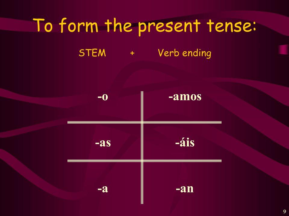 8 Every verb has 2 parts: Hablar= habl- Practicar= practi- Estudiar= estudi- Trabajar= trabaj- Cocinar= cocin- STEM+ENDING Mirar= mir- Escuchar= escuch- Jugar= jug- Presentar= present- Comprar= compr- + AR