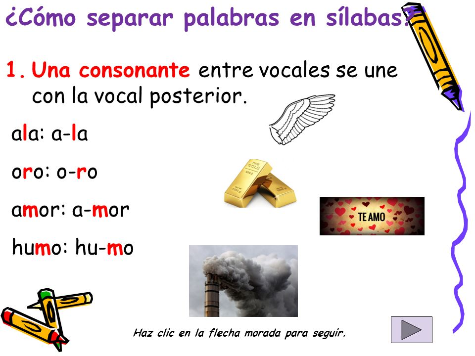 1.Una consonante entre vocales se une con la vocal posterior.