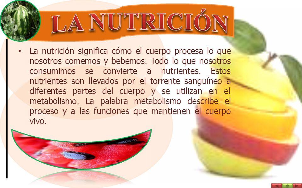La nutrición significa cómo el cuerpo procesa lo que nosotros comemos y bebemos.