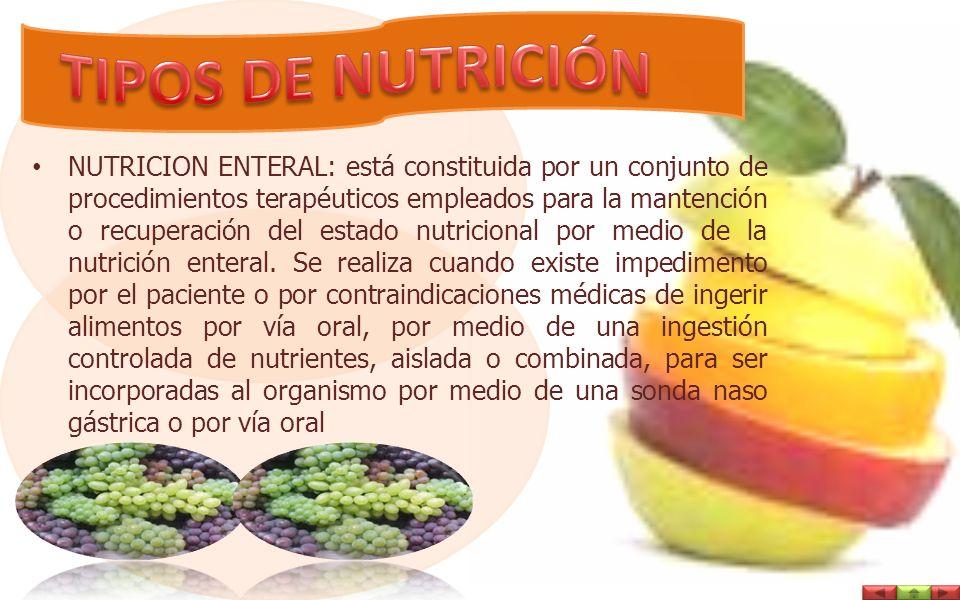 NUTRICION ENTERAL: está constituida por un conjunto de procedimientos terapéuticos empleados para la mantención o recuperación del estado nutricional por medio de la nutrición enteral.