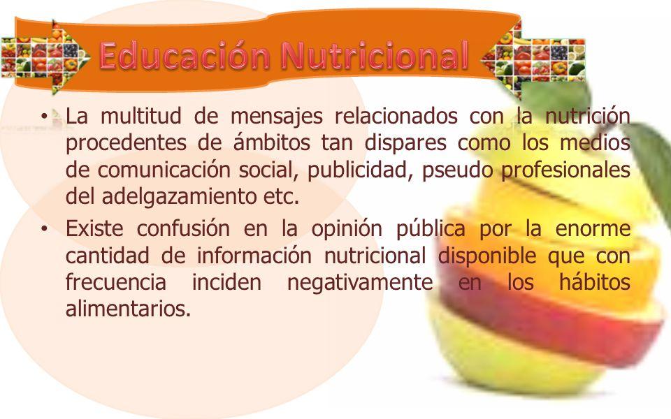 La multitud de mensajes relacionados con la nutrición procedentes de ámbitos tan dispares como los medios de comunicación social, publicidad, pseudo profesionales del adelgazamiento etc.