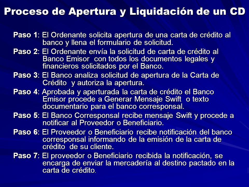 Proceso de Apertura y Liquidación de un CD Paso 1: El Ordenante solicita apertura de una carta de crédito al banco y llena el formulario de solicitud.