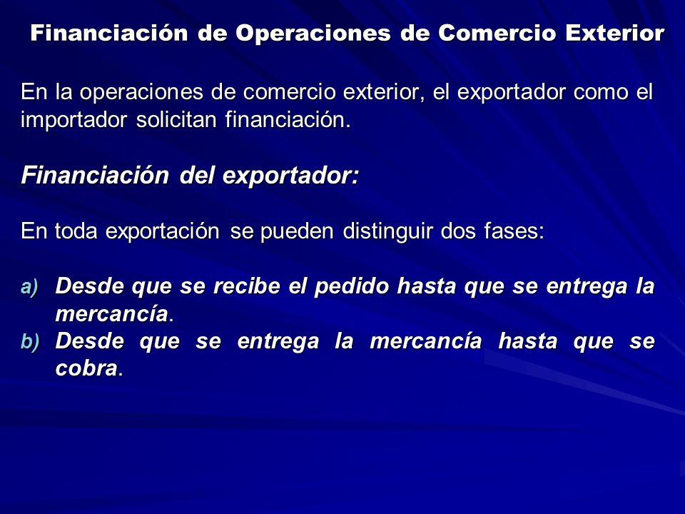 Financiación de Operaciones de Comercio Exterior Financiación de Operaciones de Comercio Exterior En la operaciones de comercio exterior, el exportador como el importador solicitan financiación.