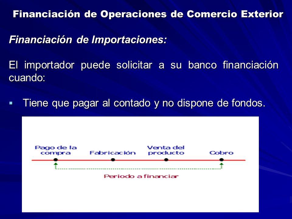 Financiación de Operaciones de Comercio Exterior Financiación de Operaciones de Comercio Exterior Financiación de Importaciones: El importador puede solicitar a su banco financiación cuando:  Tiene que pagar al contado y no dispone de fondos.
