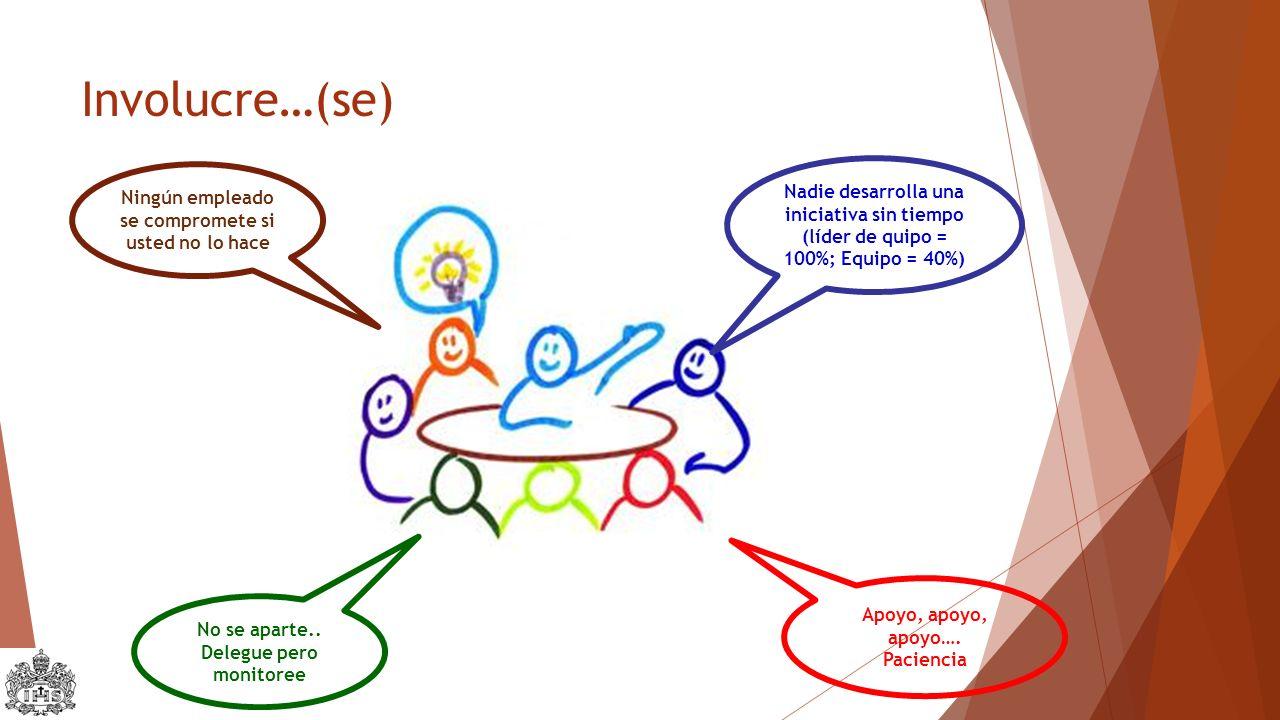 Involucre…(se) Ningún empleado se compromete si usted no lo hace Nadie desarrolla una iniciativa sin tiempo (líder de quipo = 100%; Equipo = 40%) No se aparte..