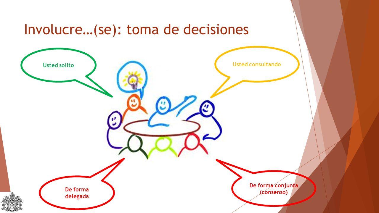Involucre…(se): toma de decisiones Usted solito Usted consultando De forma delegada De forma conjunta (consenso)