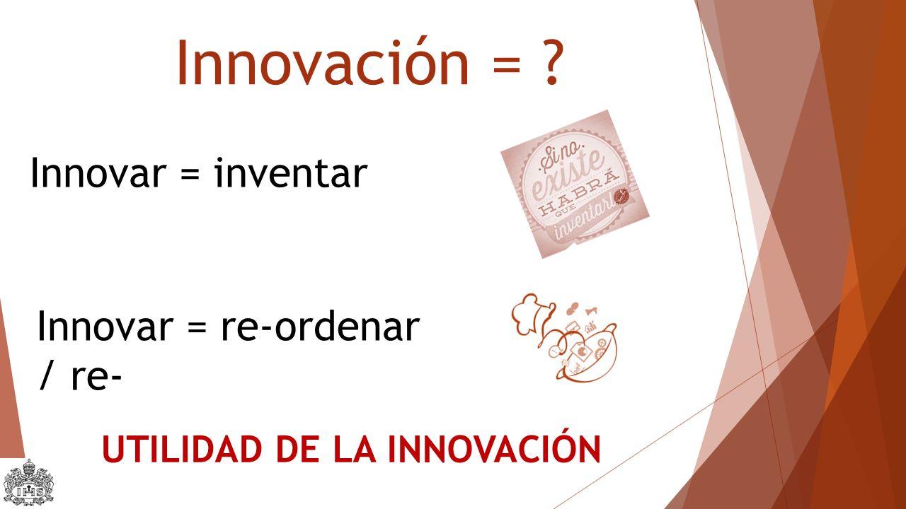Innovación = ? Innovar = inventar Innovar = re-ordenar / re- UTILIDAD DE LA INNOVACIÓN