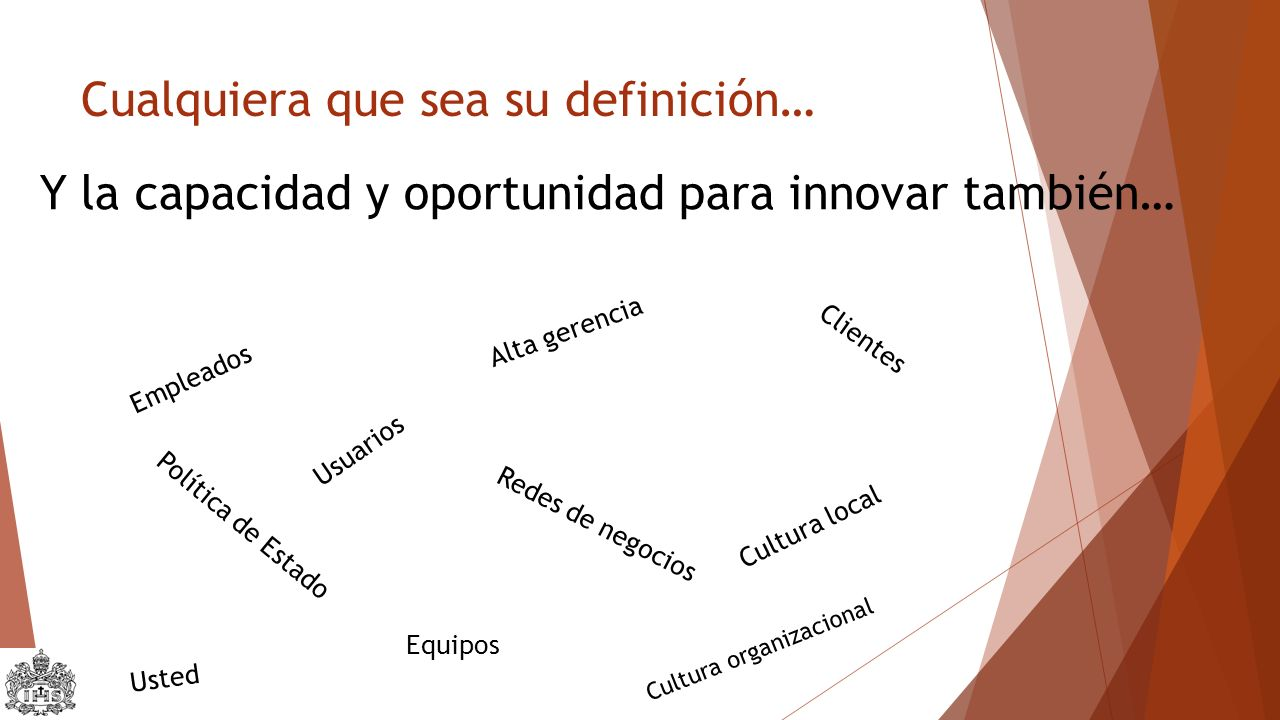 Cualquiera que sea su definición… Y la capacidad y oportunidad para innovar también… Empleados Usuarios Alta gerencia Redes de negocios Cultura local Política de Estado Clientes Usted Cultura organizacional Equipos