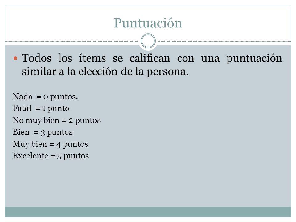 Puntuación Todos los ítems se califican con una puntuación similar a la elección de la persona. Nada = 0 puntos. Fatal = 1 punto No muy bien = 2 punto