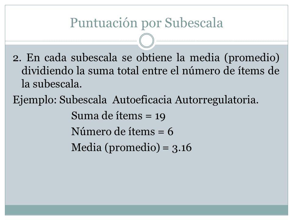 Puntuación por Subescala 2. En cada subescala se obtiene la media (promedio) dividiendo la suma total entre el número de ítems de la subescala. Ejempl
