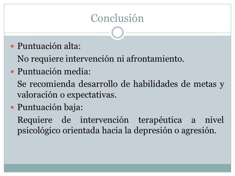 Conclusión Puntuación alta: No requiere intervención ni afrontamiento.
