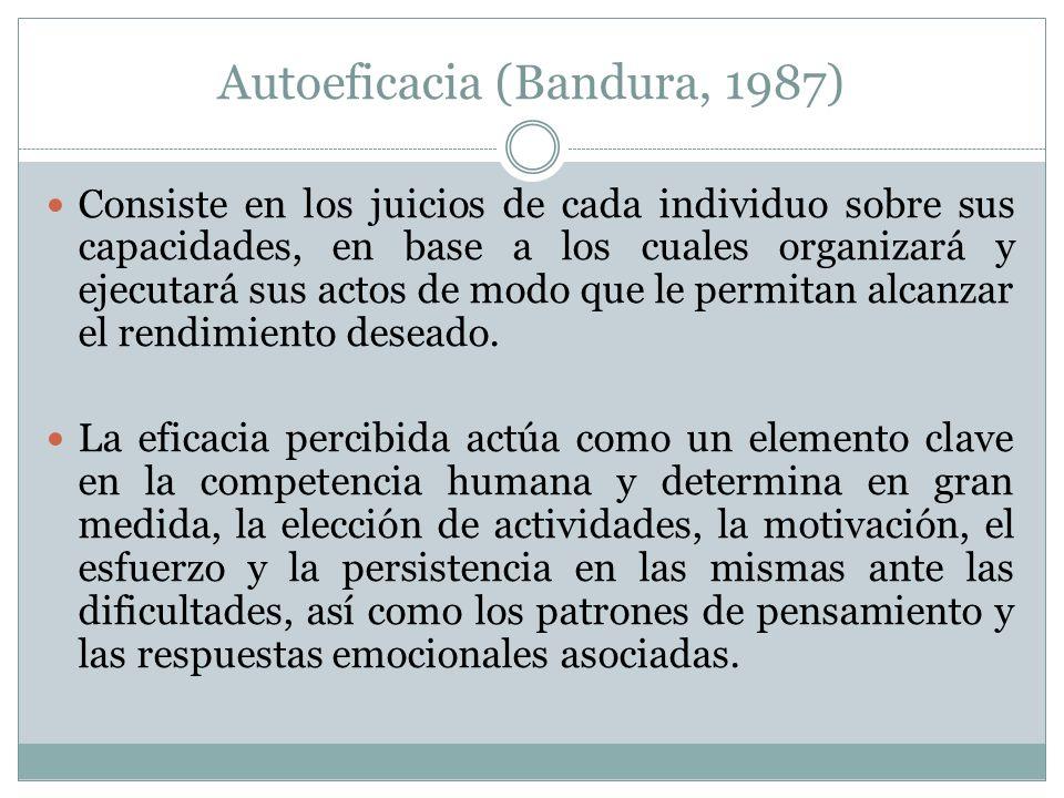 Autoeficacia (Bandura, 1987) Consiste en los juicios de cada individuo sobre sus capacidades, en base a los cuales organizará y ejecutará sus actos de modo que le permitan alcanzar el rendimiento deseado.