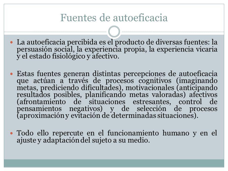 Fuentes de autoeficacia La autoeficacia percibida es el producto de diversas fuentes: la persuasión social, la experiencia propia, la experiencia vicaria y el estado fisiológico y afectivo.