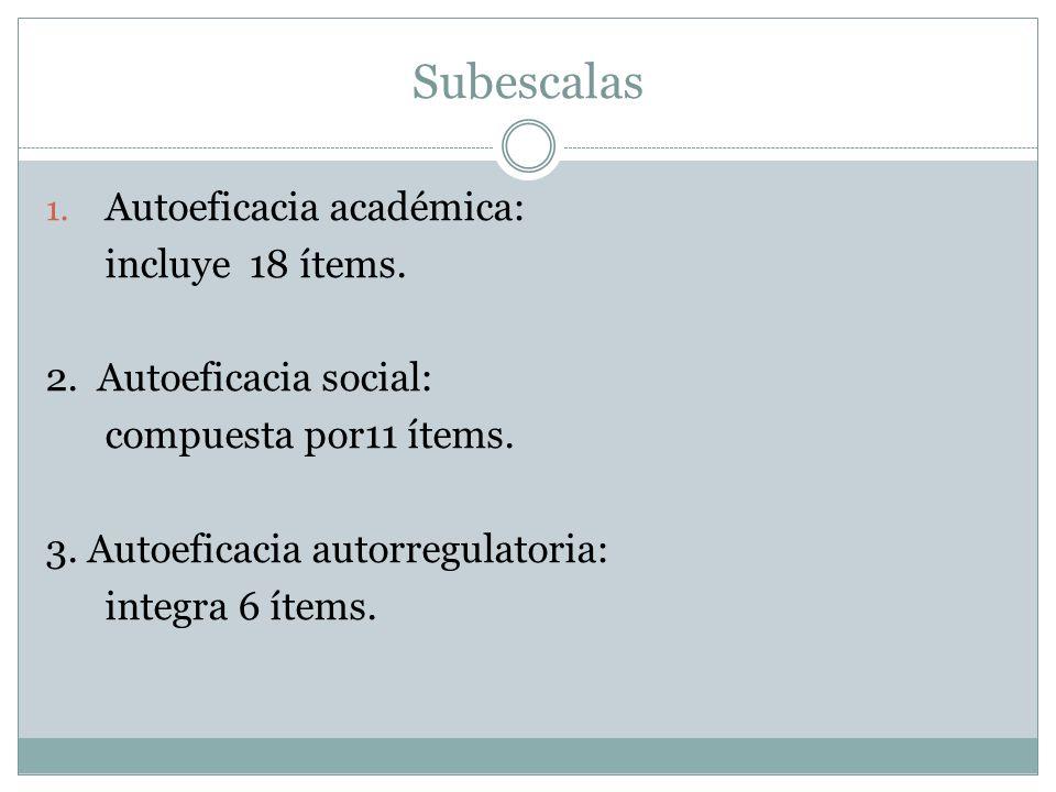 Subescalas 1. Autoeficacia académica: incluye 18 ítems. 2. Autoeficacia social: compuesta por11 ítems. 3. Autoeficacia autorregulatoria: integra 6 íte