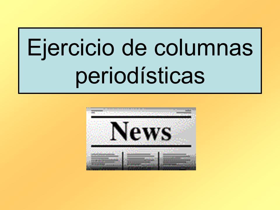 Ejercicio de columnas periodísticas