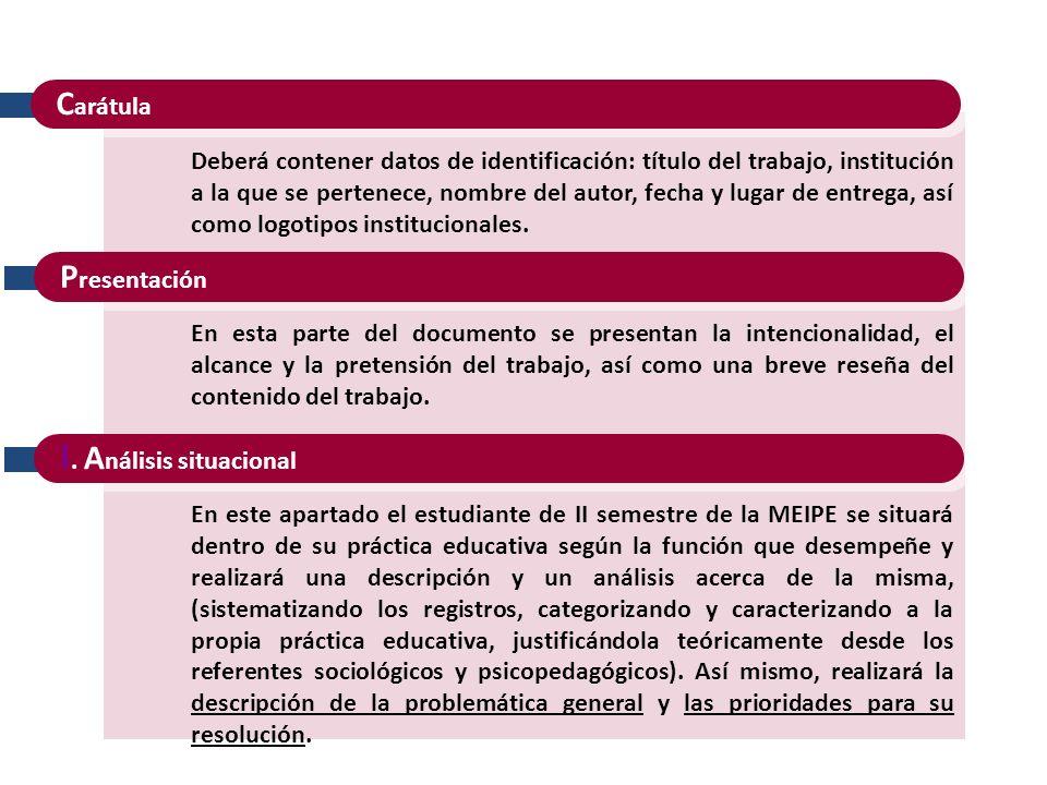 C arátula Deberá contener datos de identificación: título del trabajo, institución a la que se pertenece, nombre del autor, fecha y lugar de entrega, así como logotipos institucionales.