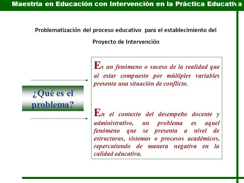 Problematización del proceso educativo para el establecimiento del Proyecto de Intervención E s un fenómeno o suceso de la realidad que al estar compuesto por múltiples variables presenta una situación de conflicto.