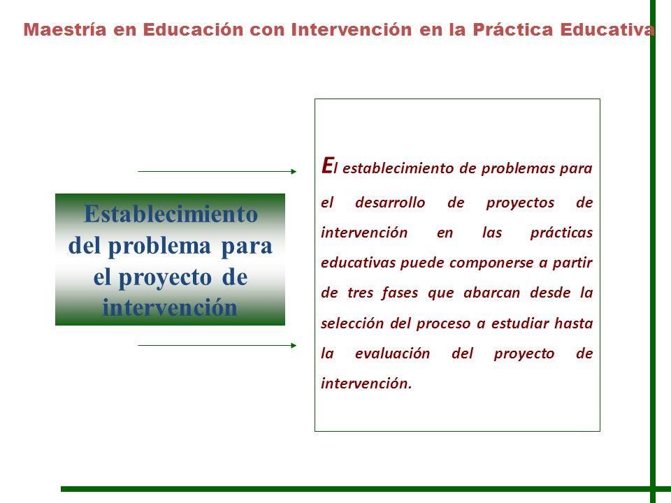Establecimiento del problema para el proyecto de intervención E l establecimiento de problemas para el desarrollo de proyectos de intervención en las prácticas educativas puede componerse a partir de tres fases que abarcan desde la selección del proceso a estudiar hasta la evaluación del proyecto de intervención.