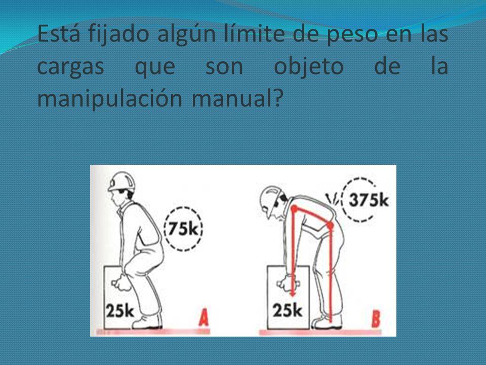 Está fijado algún límite de peso en las cargas que son objeto de la manipulación manual?