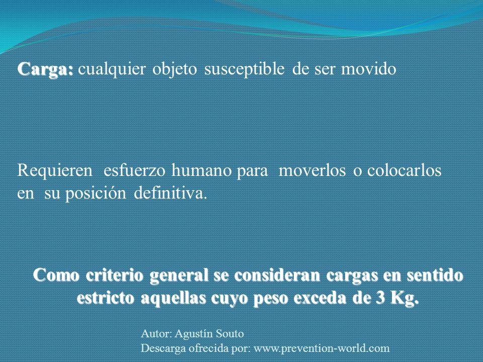 Autor: Agustín Souto Descarga ofrecida por: www.prevention-world.com Como criterio general se consideran cargas en sentido estricto aquellas cuyo peso exceda de 3 Kg.