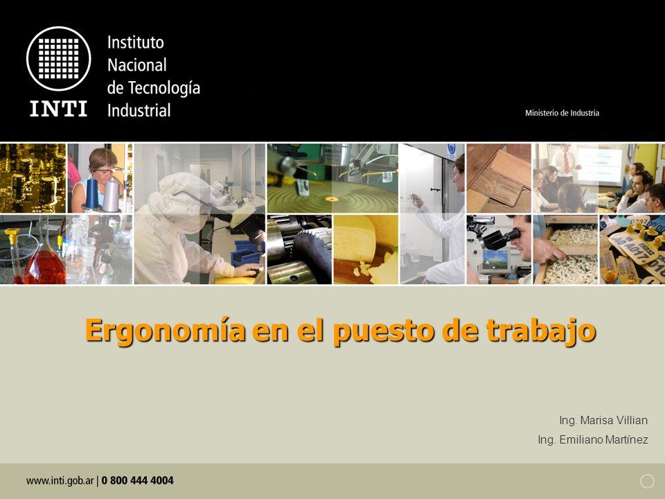 Ergonomíaen el puesto de trabajo Ergonomía en el puesto de trabajo Ing. Marisa Villian Ing. Emiliano Martínez