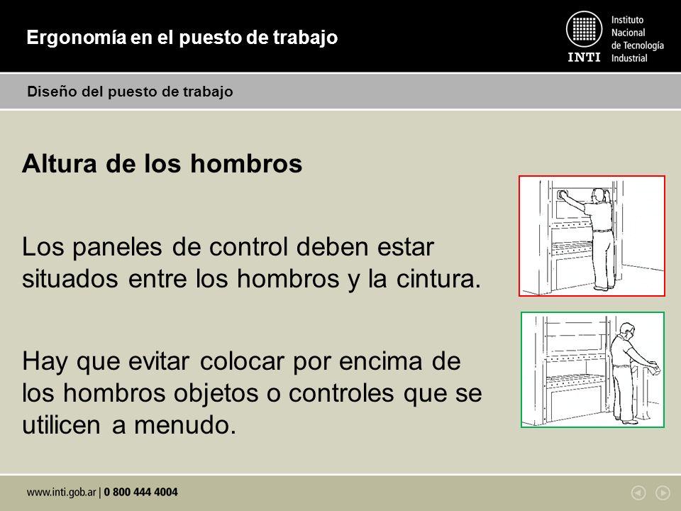 Ergonomía en el puesto de trabajo Diseño del puesto de trabajo Altura de los hombros Los paneles de control deben estar situados entre los hombros y l