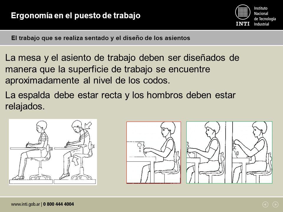 Ergonomía en el puesto de trabajo El trabajo que se realiza sentado y el diseño de los asientos La mesa y el asiento de trabajo deben ser diseñados de