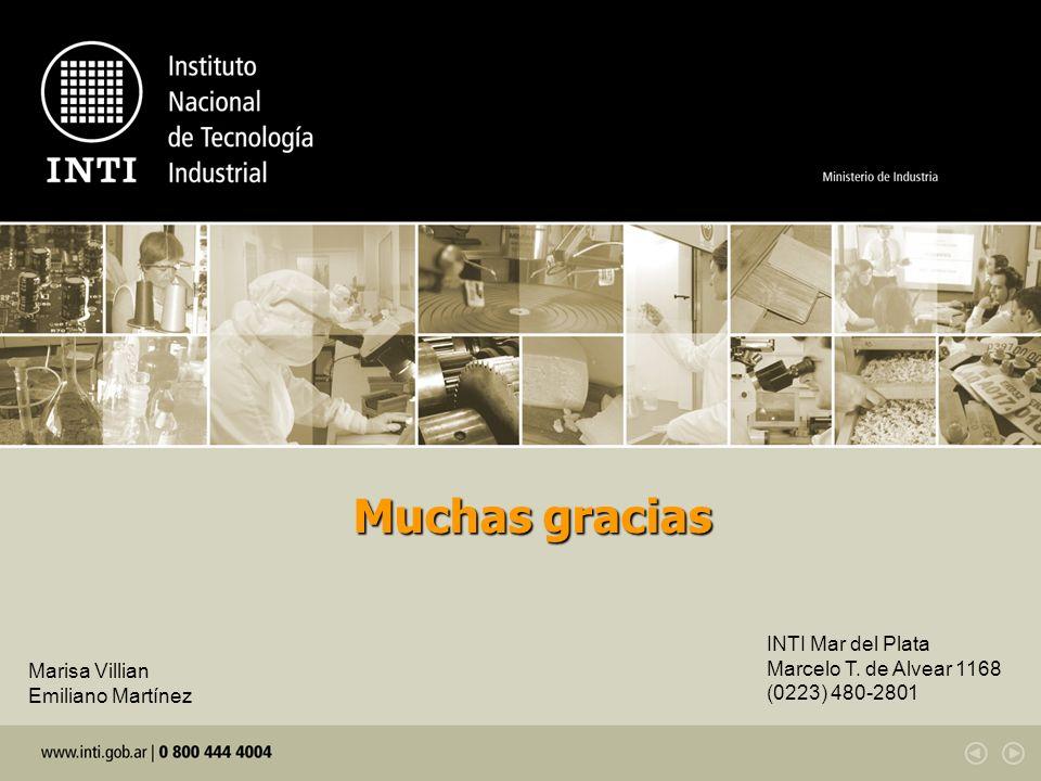 Muchas gracias INTI Mar del Plata Marcelo T. de Alvear 1168 (0223) 480-2801 Marisa Villian Emiliano Martínez