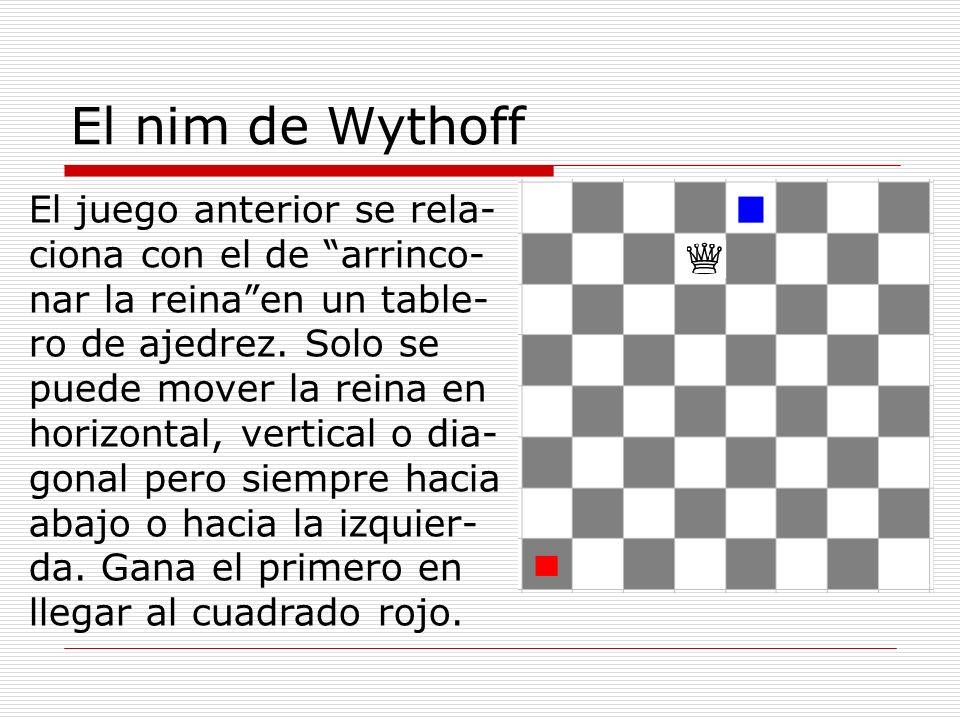 """El nim de Wythoff El juego anterior se rela- ciona con el de """"arrinco- nar la reina""""en un table- ro de ajedrez. Solo se puede mover la reina en horizo"""