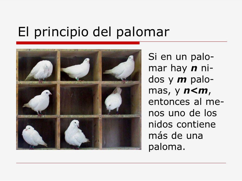 El principio del palomar Si en un palo- mar hay n ni- dos y m palo- mas, y n<m, entonces al me- nos uno de los nidos contiene más de una paloma.
