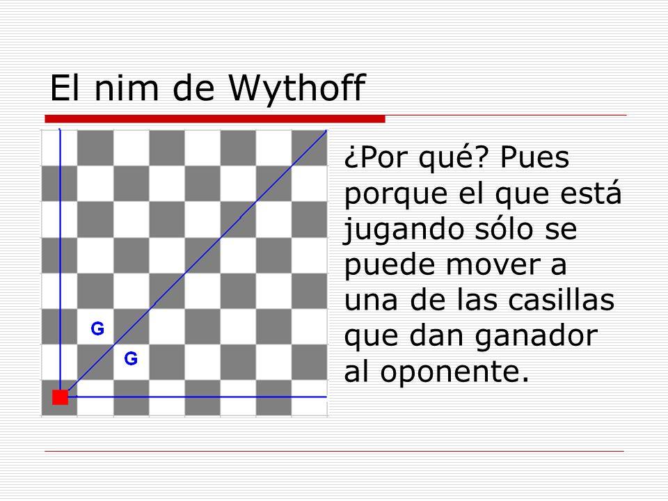 El nim de Wythoff ¿Por qué? Pues porque el que está jugando sólo se puede mover a una de las casillas que dan ganador al oponente.