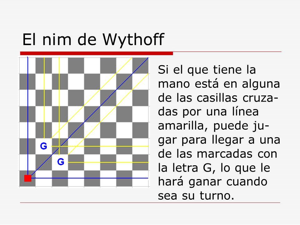 El nim de Wythoff Si el que tiene la mano está en alguna de las casillas cruza- das por una línea amarilla, puede ju- gar para llegar a una de las mar