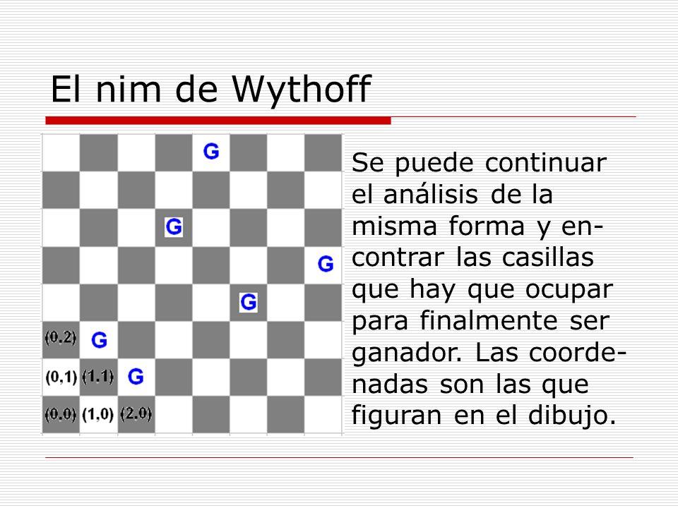 El nim de Wythoff Se puede continuar el análisis de la misma forma y en- contrar las casillas que hay que ocupar para finalmente ser ganador. Las coor