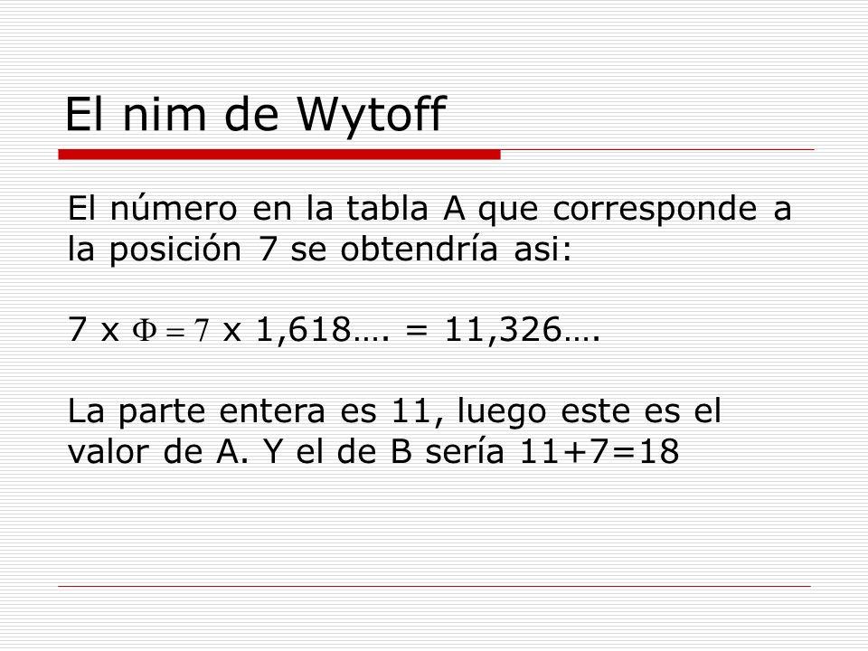 El nim de Wytoff El número en la tabla A que corresponde a la posición 7 se obtendría asi: 7 x  x 1,618…. = 11,326…. La parte entera es 11, luego