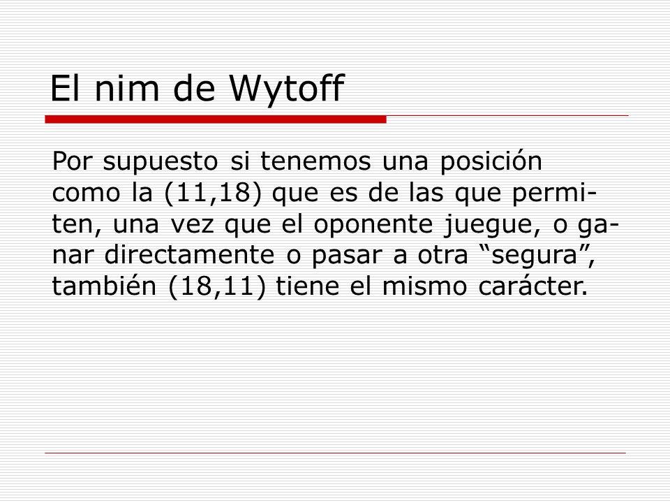 El nim de Wytoff Por supuesto si tenemos una posición como la (11,18) que es de las que permi- ten, una vez que el oponente juegue, o ga- nar directam