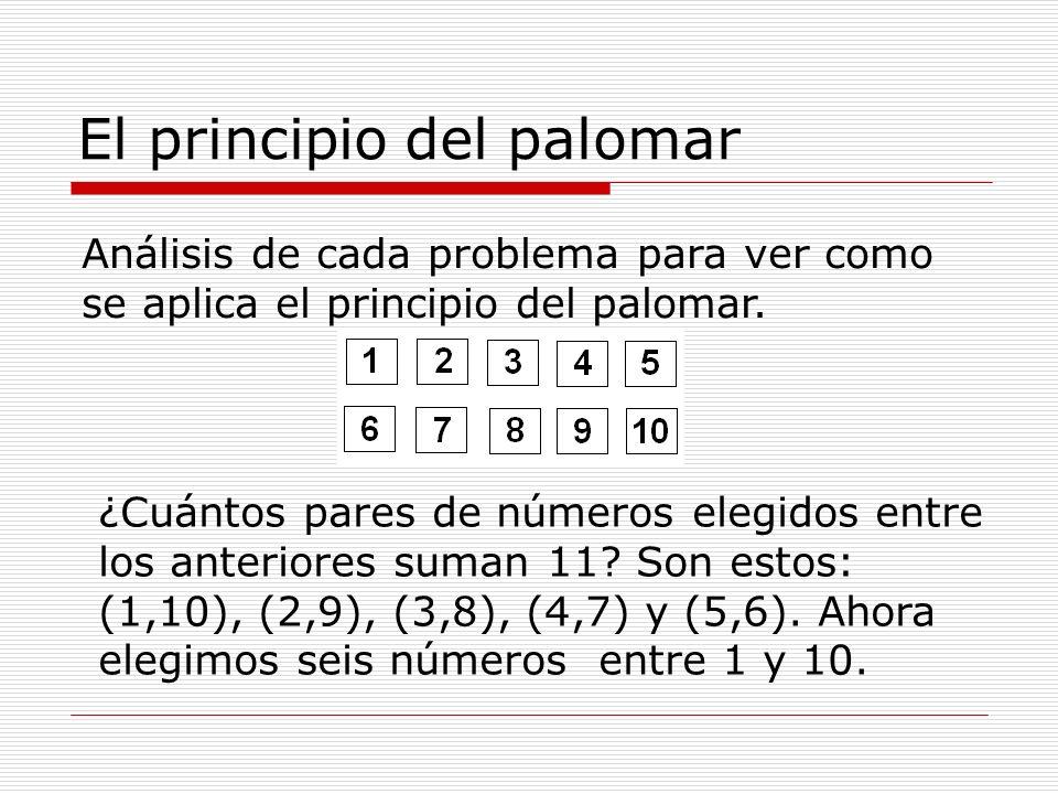 El principio del palomar Análisis de cada problema para ver como se aplica el principio del palomar. ¿Cuántos pares de números elegidos entre los ante