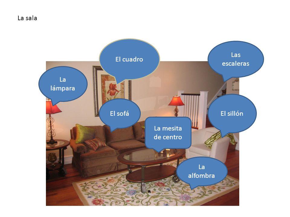 lsala hay…/ in the living room there is/are… El cuadro La alfombra Las escaleras El sillón La lámpara La mesita de centro El sofá La sala