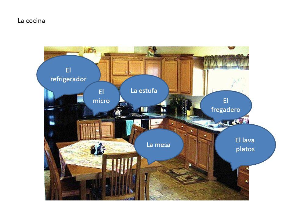La cocina En la cocina hay… El fregadero La estufa El refrigerador La mesa El lava platos El micro La cocina