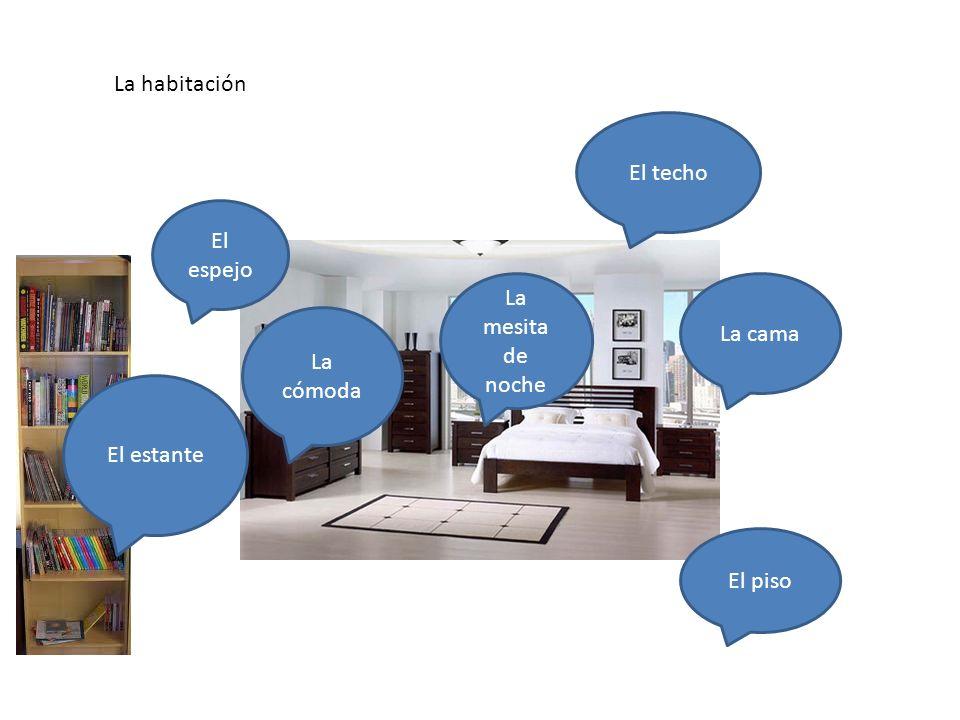 El dormitorio/habitación/ el cuarto En el dormitorio hay… La cama La mesita de noche El piso El espejo El techo El estante La cómoda La habitación