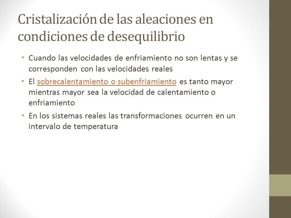 Cristalización de las aleaciones en condiciones de desequilibrio Cuando las velocidades de enfriamiento no son lentas y se corresponden con las velocidades reales El sobrecalentamiento o subenfriamiento es tanto mayor mientras mayor sea la velocidad de calentamiento o enfriamientosobrecalentamiento o subenfriamiento En los sistemas reales las transformaciones ocurren en un intervalo de temperatura