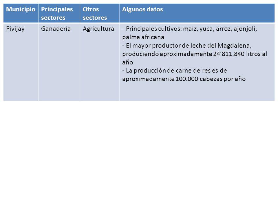 MunicipioPrincipales sectores Otros sectoresAlgunos datos FundaciónComercialGanadería y agricultura - Actualmente ocupa el 4° lugar en el Departamento en cuanto a producción de carne y leche - Mayores mercados para la ganadería: Barranquilla, Santa Marta, Medellín, Bucaramanga, y Magangue - Área de Pastos destinada para la Ganadería (2008): 36.500 Has - Áreas Sembradas durante el 2008: 9.250 Has AracatacaAgriculturaGanadería y minería - Principales cultivos: arroz, palma africana y el banano - Área agropecuaria: 173.626 has - 4.3 %, es decir, 7.608 has corresponden cultivos agrícolas - 30.4%, que equivale a 53.309 has son utilizadas en pasto de ganadería extensiva - 50.1%, es decir 87.860 has, a bosques - 15.2 % restante, es decir, 26.523 has a otros cultivos.