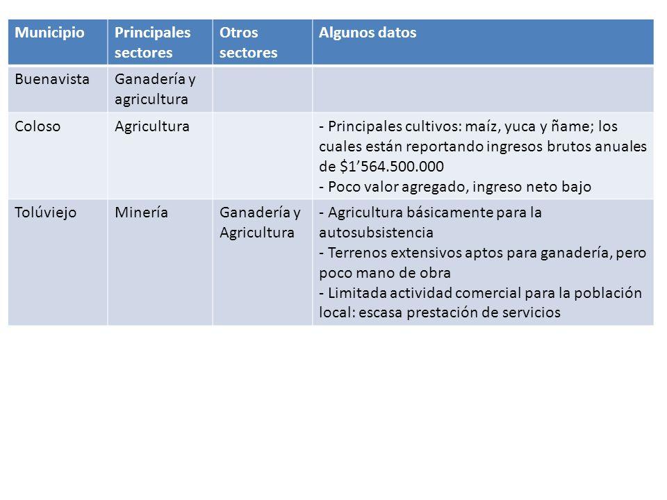 Sucre MunicipioPrincipales sectores Otros sectores Algunos datos Los PalmitosGanadería y agricultura - Los cultivos que se destacan: maíz, yuca, ñame, tabaco, patilla y en poca escala el ajonjolí y el fríjol - Una actividad que viene extendiéndose en los últimos años es el motototaxismo.
