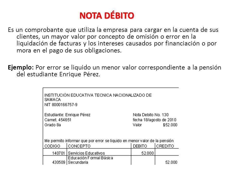 NOTA DÉBITO Es un comprobante que utiliza la empresa para cargar en la cuenta de sus clientes, un mayor valor por concepto de omisión o error en la liquidación de facturas y los intereses causados por financiación o por mora en el pago de sus obligaciones.