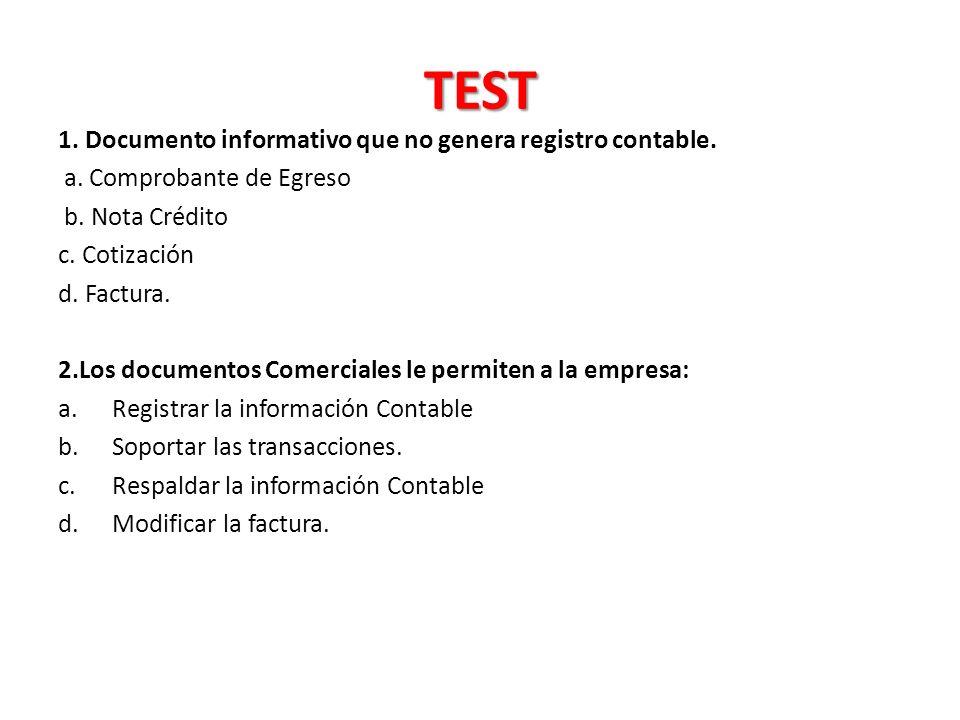 TEST 1.Documento informativo que no genera registro contable.