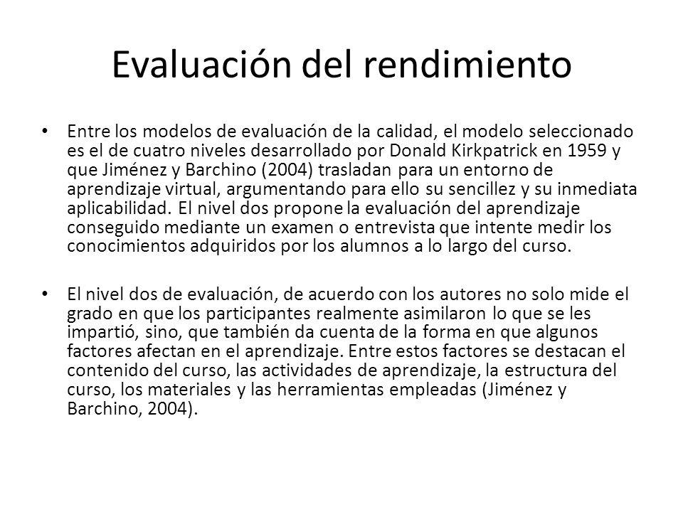 Evaluación del rendimiento Entre los modelos de evaluación de la calidad, el modelo seleccionado es el de cuatro niveles desarrollado por Donald Kirkpatrick en 1959 y que Jiménez y Barchino (2004) trasladan para un entorno de aprendizaje virtual, argumentando para ello su sencillez y su inmediata aplicabilidad.