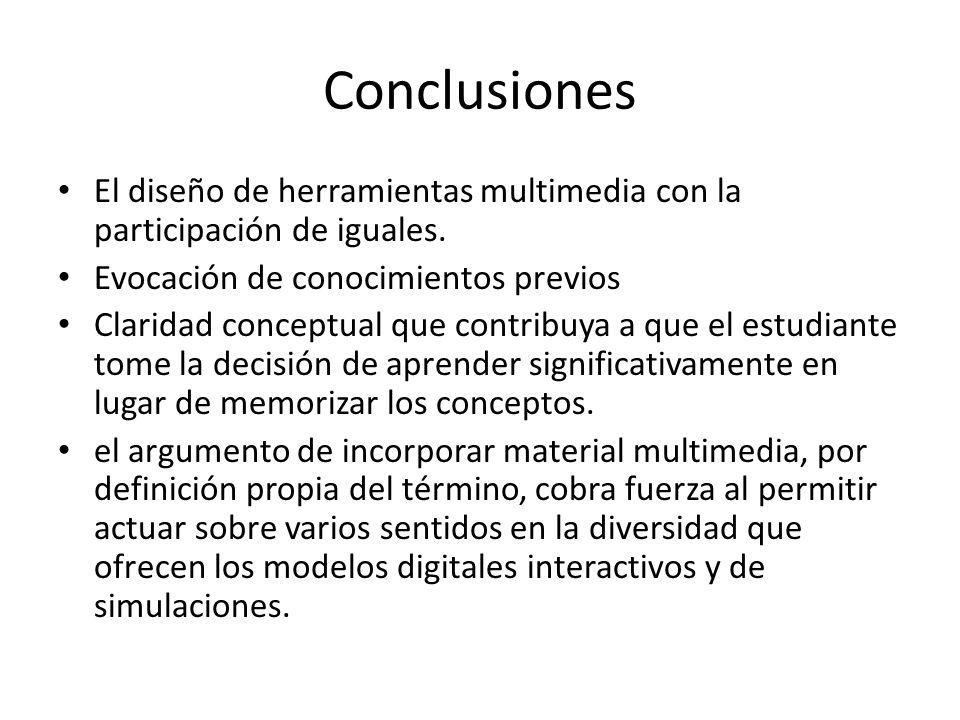 Conclusiones El diseño de herramientas multimedia con la participación de iguales.