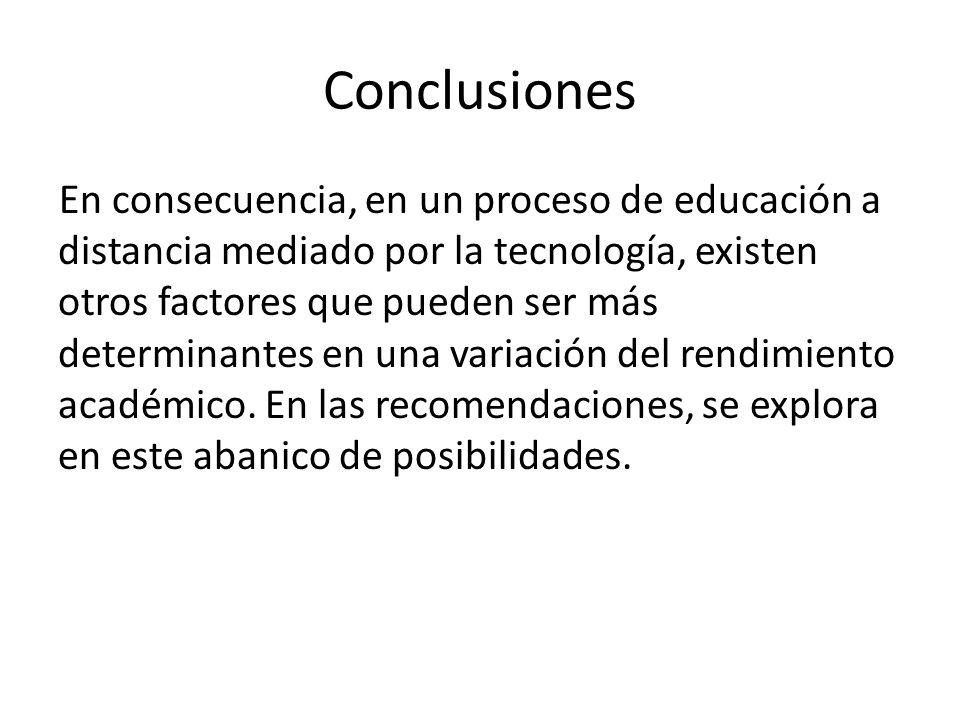 Conclusiones En consecuencia, en un proceso de educación a distancia mediado por la tecnología, existen otros factores que pueden ser más determinantes en una variación del rendimiento académico.