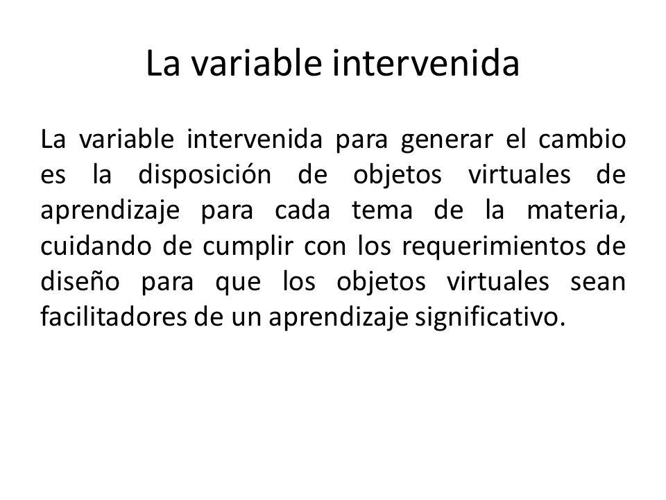 La variable intervenida La variable intervenida para generar el cambio es la disposición de objetos virtuales de aprendizaje para cada tema de la materia, cuidando de cumplir con los requerimientos de diseño para que los objetos virtuales sean facilitadores de un aprendizaje significativo.