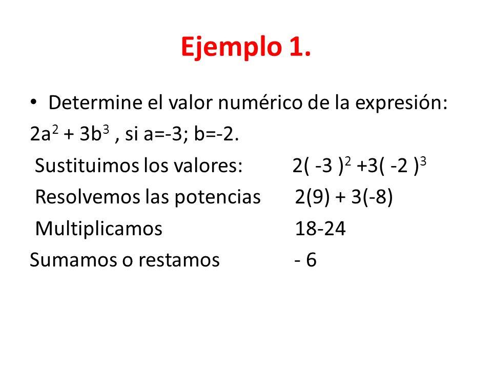 Ejemplo 1.Determine el valor numérico de la expresión: 2a 2 + 3b 3, si a=-3; b=-2.